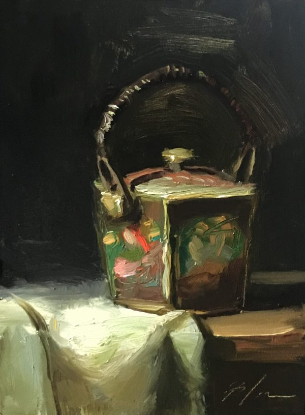 An original oil painting of a still life titled Granny's Japanese Box by Kelli Folsom