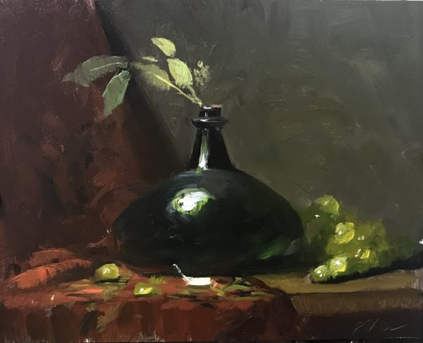 An original oil painting of a still life titled Onion Bottle by Kelli Folsom