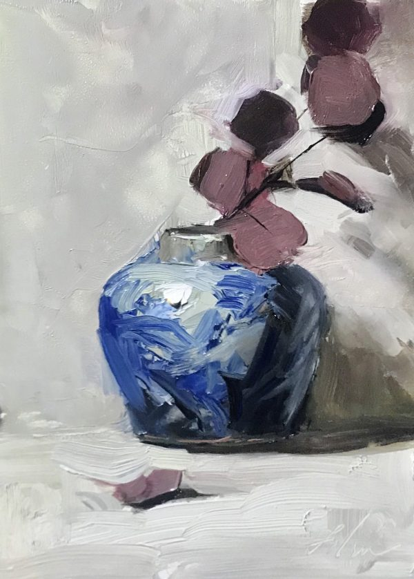 An original oil painting of a still life titled Red Violet Eucalyptus and White by Kelli Folsom