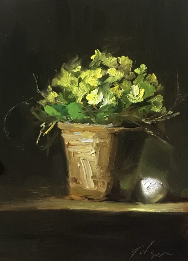 An original oil painting of a still life titled Spring Basket and Egg by Kelli Folsom