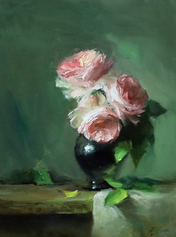 An original oil painting of a still life titled Blush Rose Trio by Kelli Folsom
