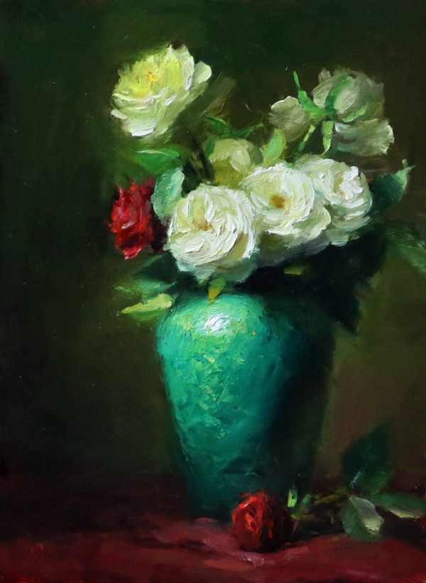 An original oil painting of a still life titled Emerald and Red Romance by Kelli Folsom