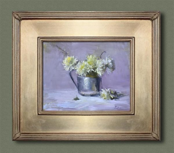 An original framed oil painting of a still life titled Chrysanthemums in Silver by Kelli Folsom