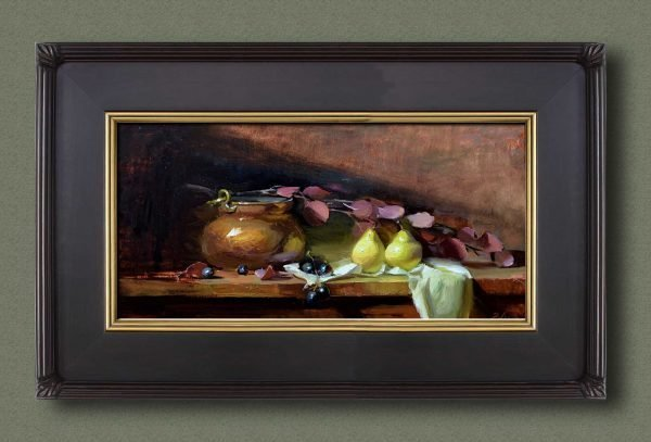 An original framed oil painting of a still life titled Copper and Pears by Kelli Folsom