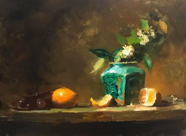 An original oil painting of a still life titled Ginger Jar and Mandarin by Kelli Folsom