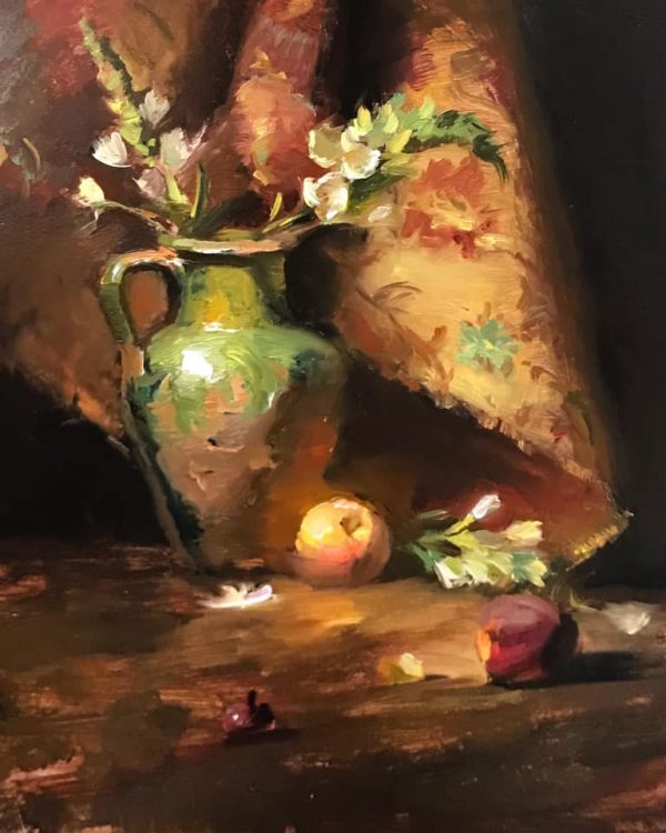 An original oil painting of a still life titled Green Confit Jar with Peaches by Kelli Folsom