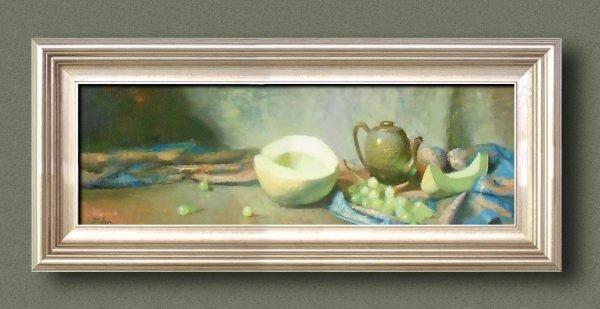 An original framed oil painting of a still life titled Sweet Honeydew Melon and Tea by Kelli Folsom