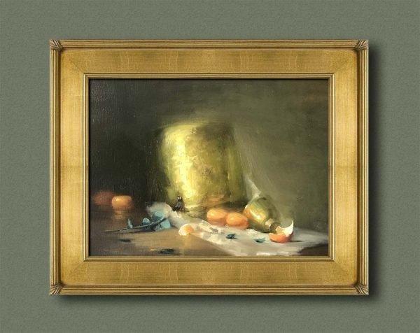 An original framed oil painting of a still life titled In Golden Light by Kelli Folsom