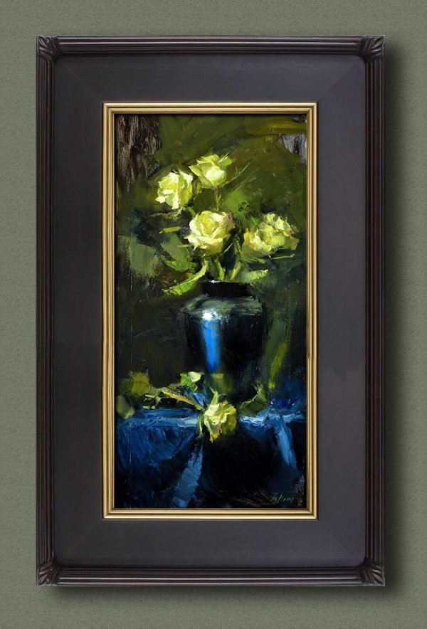 An original framed oil painting of a still life titled Midnight Blue and Yellow Roses by Kelli Folsom
