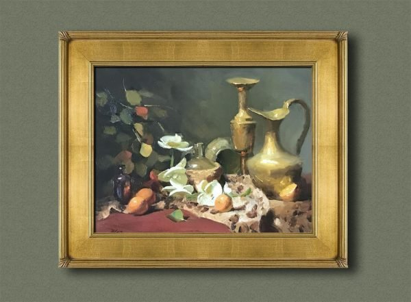 An original framed oil painting of a still life titled Orchids and Brass by Kelli Folsom