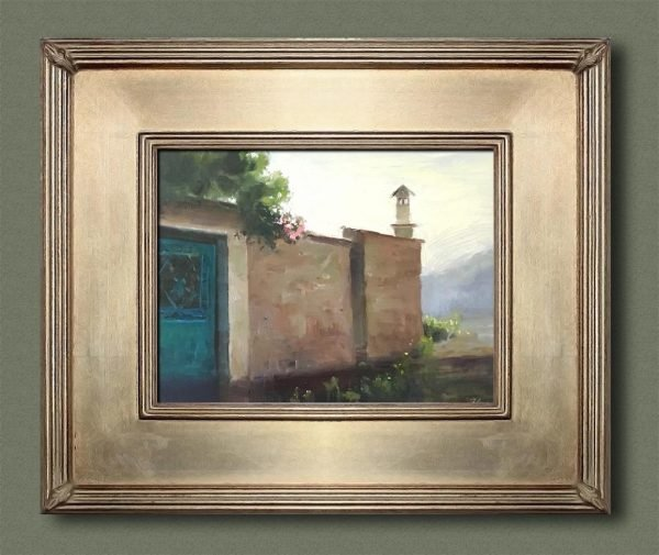An original framed oil painting of a still life titled Pink Roses over a Villager's Wall by Kelli Folsom
