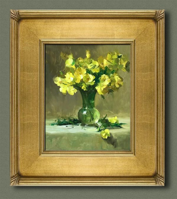 An original framed oil painting of a still life titled Spring Buttercups by Kelli Folsom