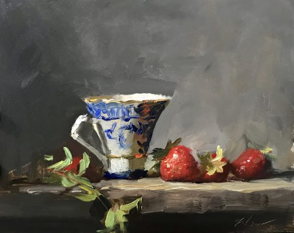An original oil painting of a still life titled Strawberries and Blue and White Teacup by Kelli Folsom