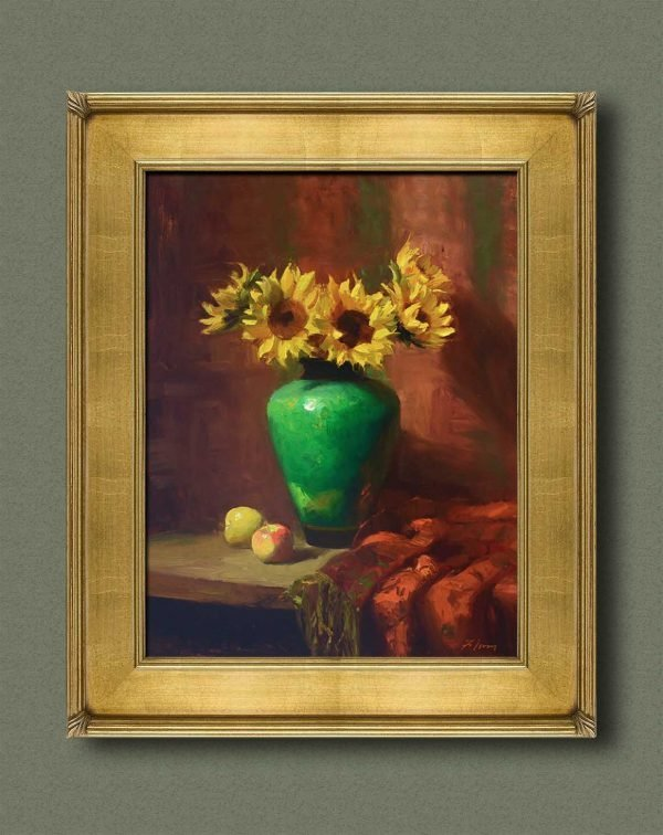 An original framed oil painting of a still life titled Sunflowers and Emerald by Kelli Folsom