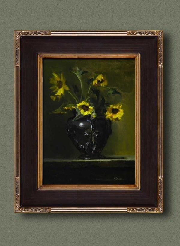 An original framed oil painting of a still life titled Wild Field Sunflowers by Kelli Folsom