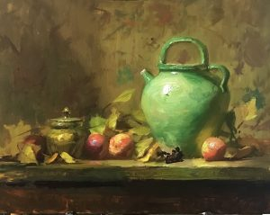A photo of an original oil painting on panel of a still life painting of green jug, apples, and leaves.