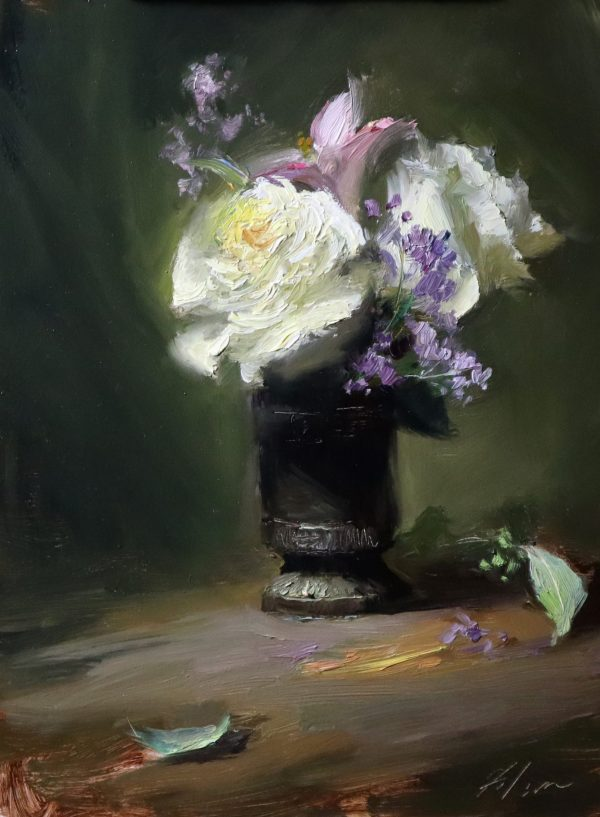 A photo of an original oil painting on panel of a floral still life of white roses and purple flowers.