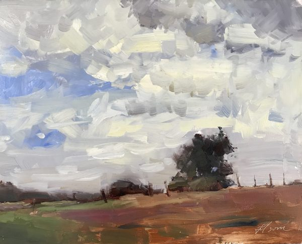 A photo of an original oil painting on panel of a still life painting of a pasture sky.