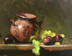 A photo of an original oil sketch on panel of a still life painting of green grapes, plums, and an earthen pot.