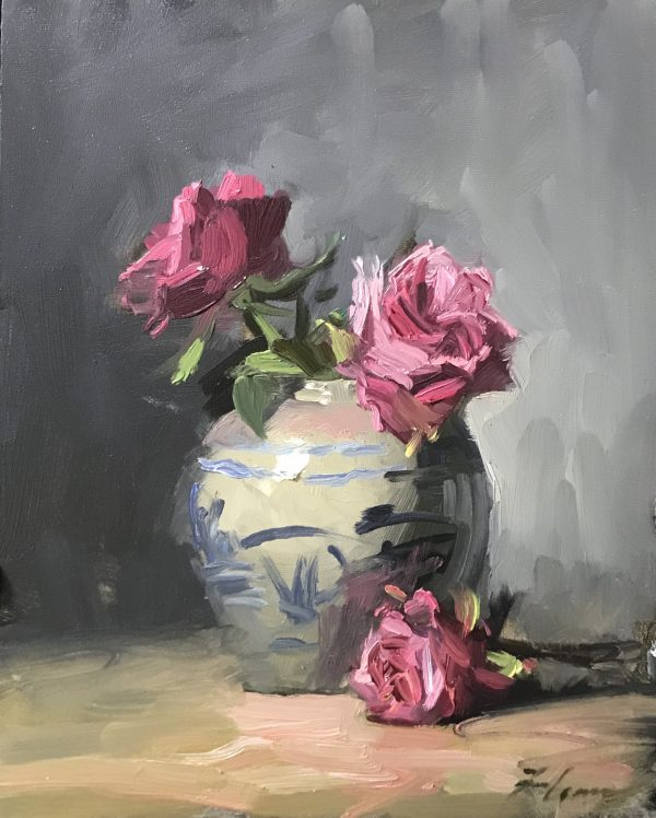 A photo of an original oil sketch on panel of a still life painting of pink roses and a blue and white jar.