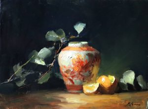 A photo of an original oil painting on panel of a still life painting of a peony ginger jar and oranges.