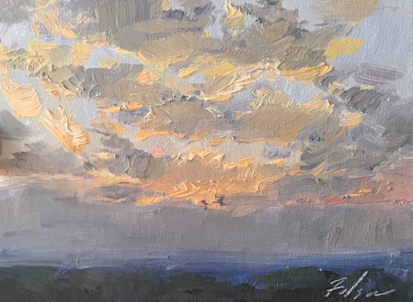 A photo of an original oil painting on panel of a landscape painting of a sunrise.