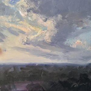 A photo of an original oil painting on panel of a still life painting of a sunrise.