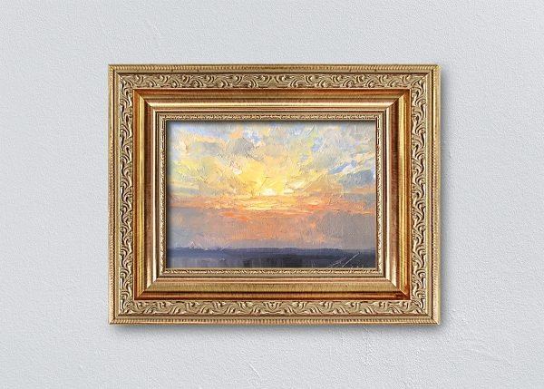 Sunrise Thirteen Gold Ornate Framed by Kelli Folsom.