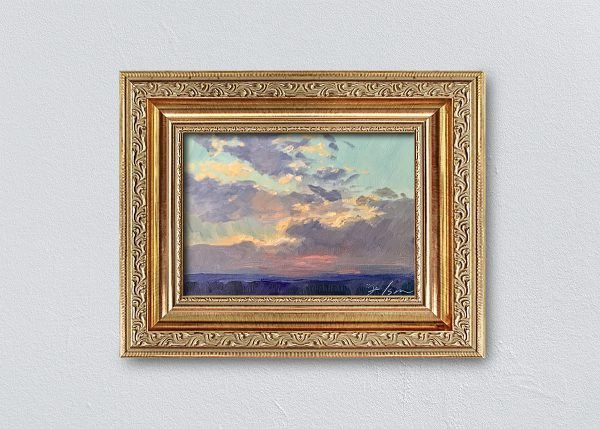 Sunrise Sixteen Gold Ornate Framed by Kelli Folsom.