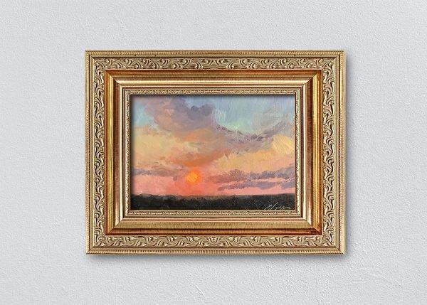 Sunrise Seventeen Gold Ornate Framed by Kelli Folsom.