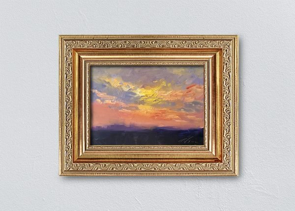 Sunrise Nine Gold Ornate Framed by Kelli Folsom.