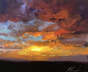 "An original oil painting of a fiery sunrise with reds, oranges, purples by artist Kelli Folsom. This original artwork is 8""x10"" oil on panel. It's sold unframed for $350"