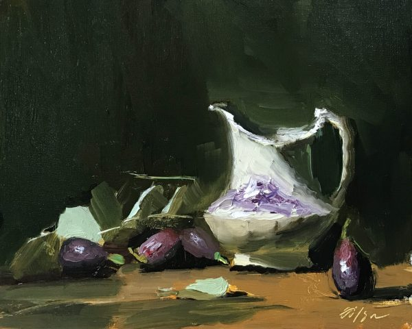 "An original oil painting of a still life of figs and an antique creamer by artist Kelli Folsom. The painting is sized 8""x10"" and sold unframed for $350"