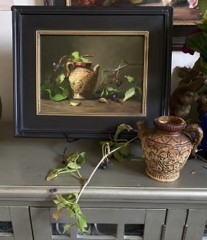 An original oil painting of a still life titled Japanese Tea and Fall Berries by Kelli Folsom