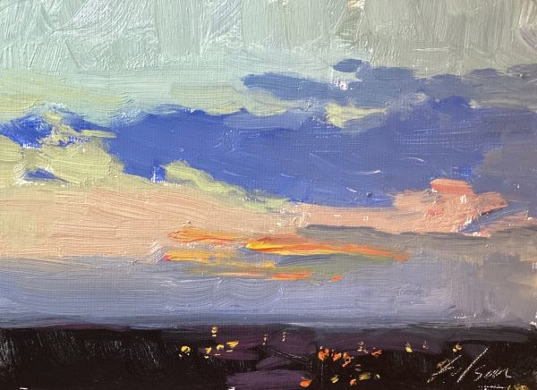 An original oil painting of a sunrise by artist Kelli Folsom in Colorado. Size 5x7 on panel $350