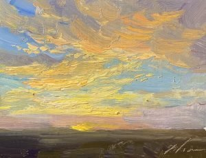 An original oil painting of a sunrise by Kelli Folsom in Colorado size 5x7 on panel $350