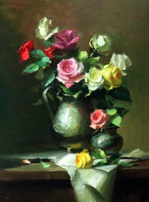 An original oil painting of a still life with red,pink,yellow and white roses and a silver tea pot by Kelli Folsom