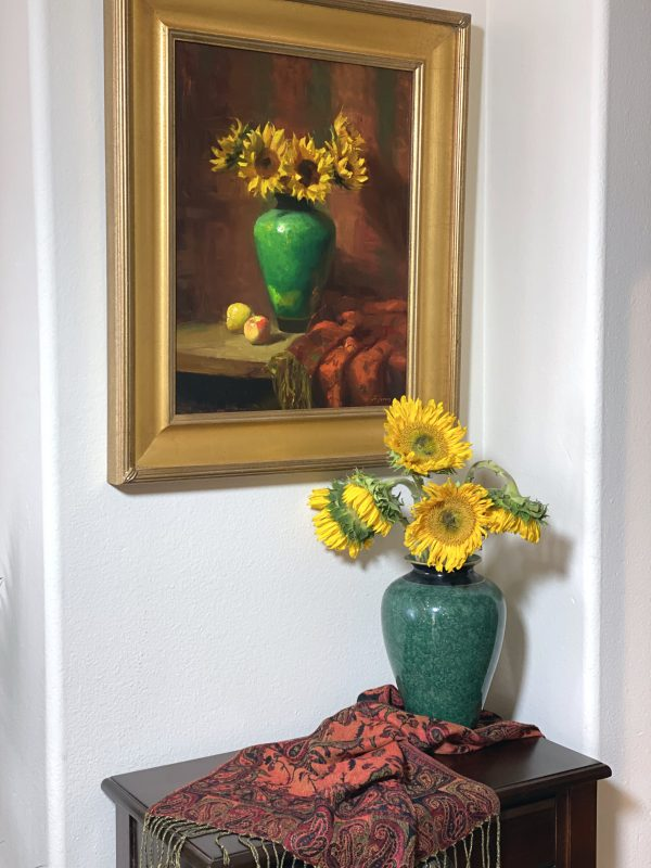 An original oil painting of a still life titled Sunflower and an Emerald Jar by Kelli Folsom