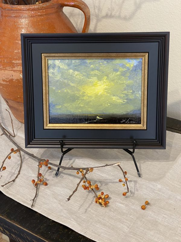 "A photo of an original oil painting of a sunrise by artist Kelli Folsom from Colorado. 6""x6"" oil on panel painting framed for sale for $350 in impressionist style"
