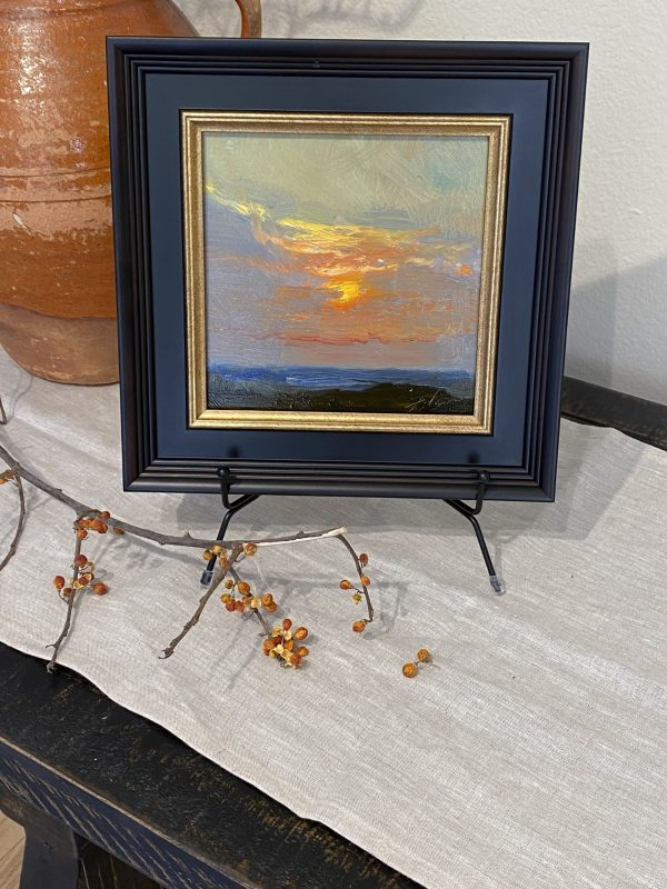 A photo of a Sunrise or Sunset Oil painting by artist Kelli Folsom offering original small artwork for sale in Colorado