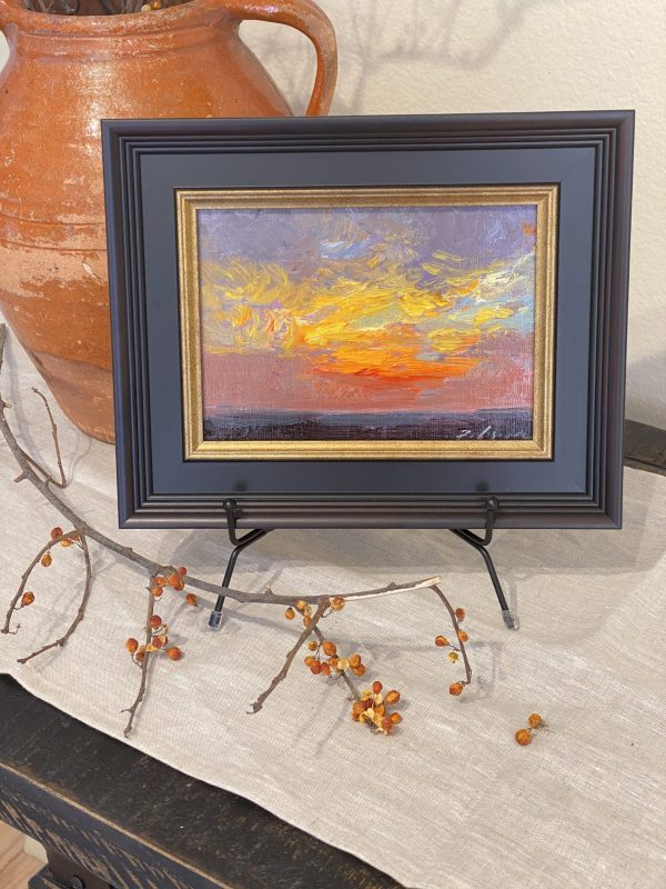 Original framed sunrise painting by Kelli Folsom 5x7 on panel for sale $350