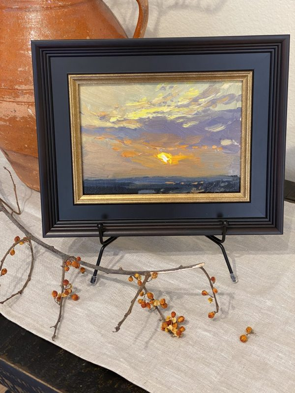 An original oil painting by Kelli Folsom of a sunrise in Colorado. Framed for sale