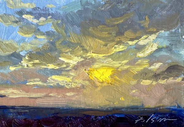 An original oil painting of a sunrise by artist Kelli Folsom in Colorado. Size is 5x7. Price is $350
