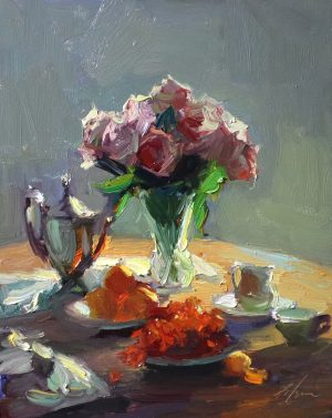 A photo of an original oil painting on panel of an interior of a breakfast table with roses by Kelli Folsom.