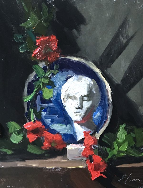 """An original oil painting of a still life featuring a marble statue of a venus bust paired with red petunias and a blue and white plate. Painting is sized 8""""x10"""" and sold for $350 unframed."""