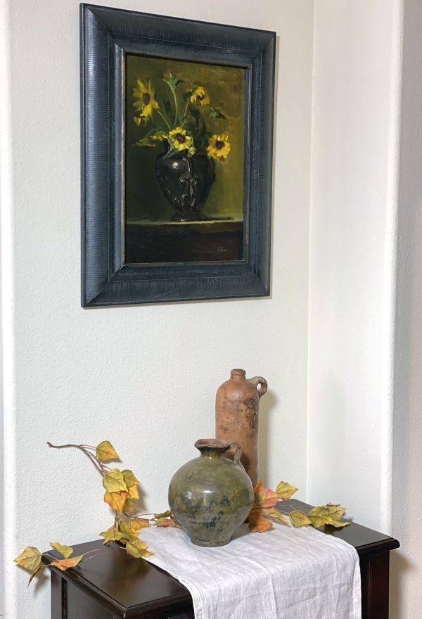An original oil painting of a still life titled wild field Sunflowers by Kelli Folsom