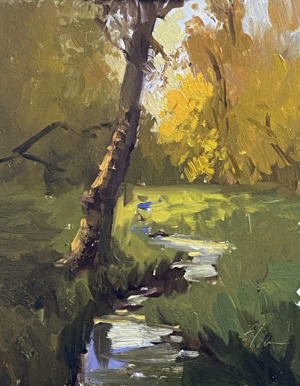 A photo of an original oil painting on panel of a landscape painting of autumnal woods by Kelli Folsom.