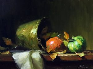 A photo of an original oil painting on panel of a still life of fall gourds and a brass bucket by Kelli Folsom.