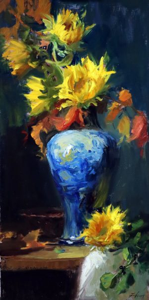 A photo of an original oil painting on linen of a floral still life painting of fall sunflowers in a blue and white vase.