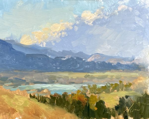 An original oil painting of a landscape painting of a fall valley vista by Kelli Folsom.